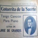 """Cotorrita de la suerte"", tapa de la partitura musical del tango."