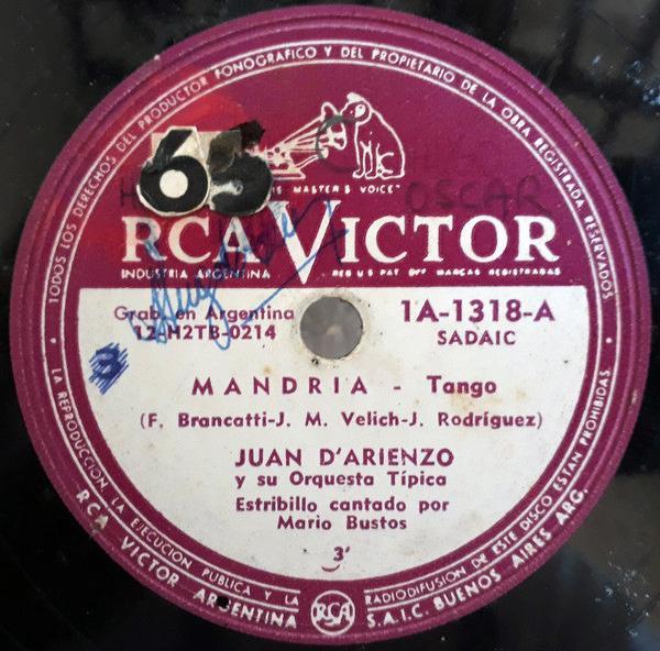 Mandria by Juan D'Arienzo con Alberto Echagüe, disco vinilo de Tango.