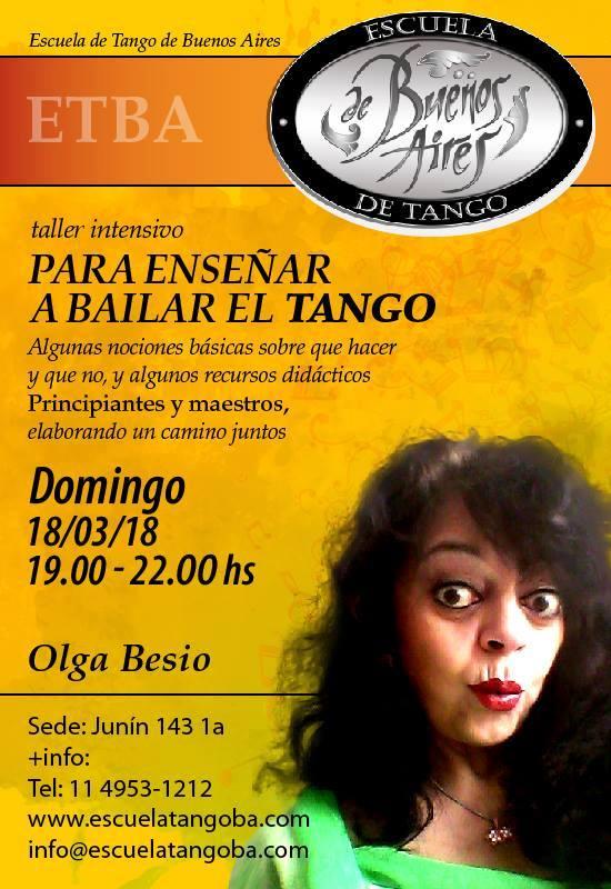 Taller intensivo Para enseñar a bailar el Tango con Olga Besio