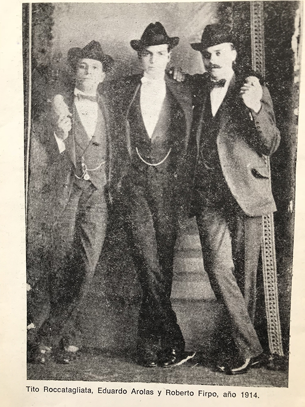 Arolas with Roccatagliata and Firpo 1914. Argentine music at Escuela de Tango de Buenos Aires.